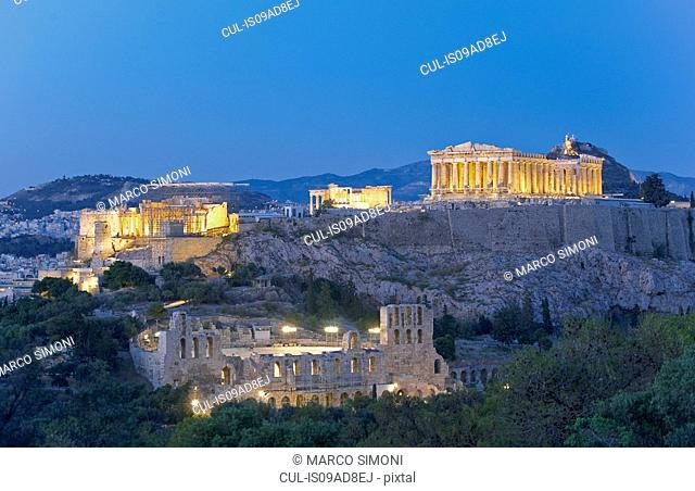 The Acropolis illuminated by floodlight, Athens, Greece, Europe