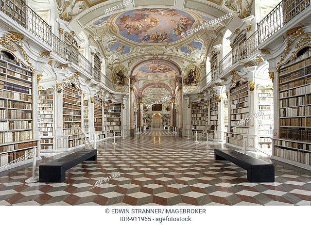 Largest monastery library of the world in Admont Benedictine Monastery, Admont, Styria, Austria, Europe