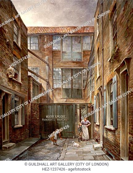 View of Newnham's Place, Bishopsgate, London, 1890-1891; with Moore and Moore's Piano Factory. A woman has her arm round a boy and a girl is playing with a dog