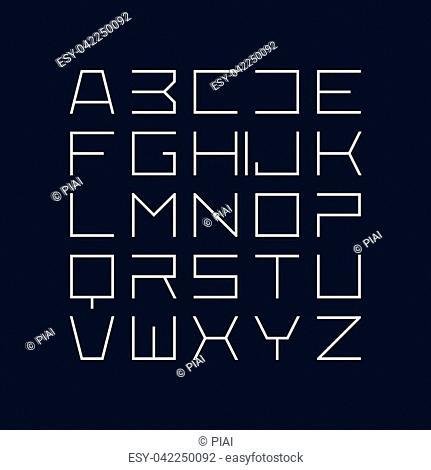 Thin line style modern uppercase fonttypeface, minimalist style. Latin alphabet letters. Vector design element