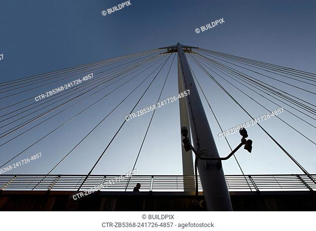 Detail of Hungerford Footbridge, London, UK, low angle