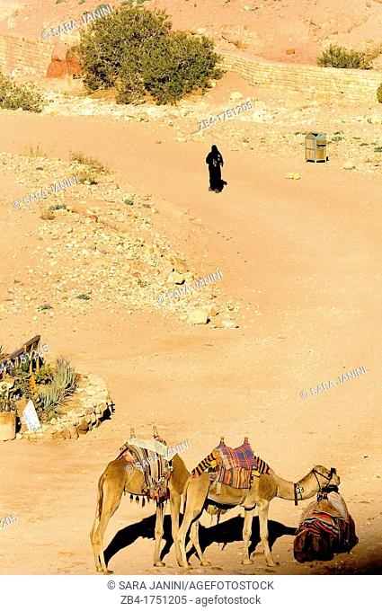 A beduin woman and camels, Archaeological site, UNESCO World Heritage Site, Petra, Jordan, Middle East