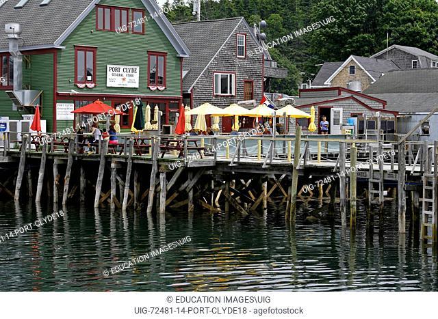 Maine coast Port Clyde docks ferry coastal Atlantic New England USA cafe restaurant