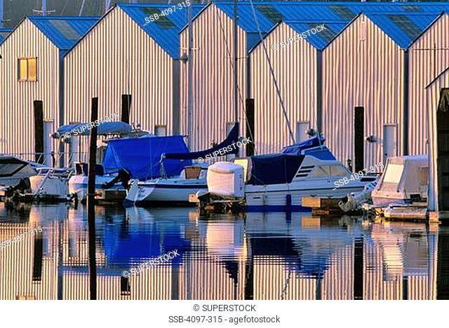 Boathouse in the sea, Sidney, Victoria, Vancouver Island, British Columbia, Canada