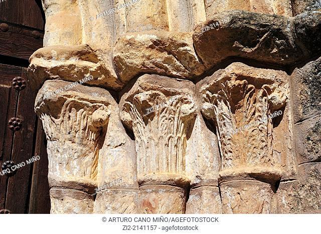 Nativity Romanesque church, XIIIth century, capital detail, Pozancos, Guadalajara, Spain