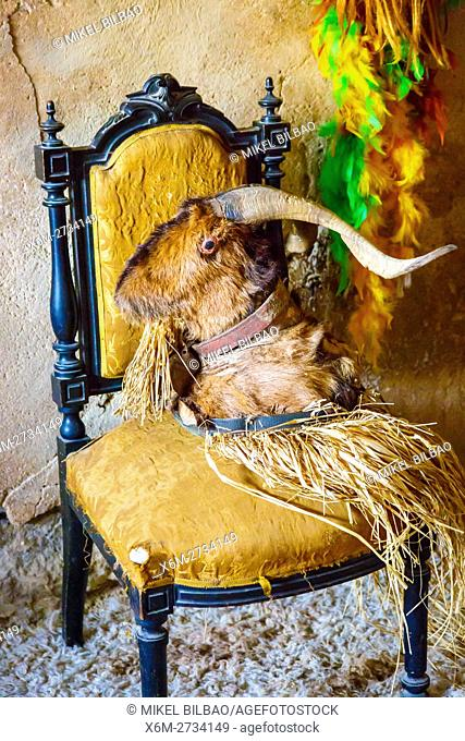 He-goat head on a chair. Witchery Week 2016. Bargota, Navarre, Spain, Europe