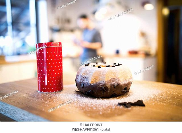 Freshly baked ring cake in kitchen