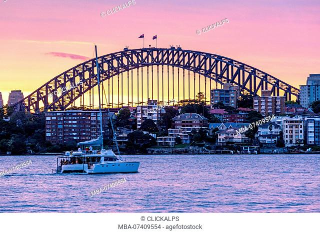 Harbour Bridge at sunset, Sydney, New South Whales, Australia