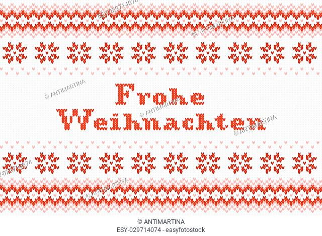 vector illustration of a seamless red and white knitted backgroundFrohe Weihnachten (german) = Merry Christmas