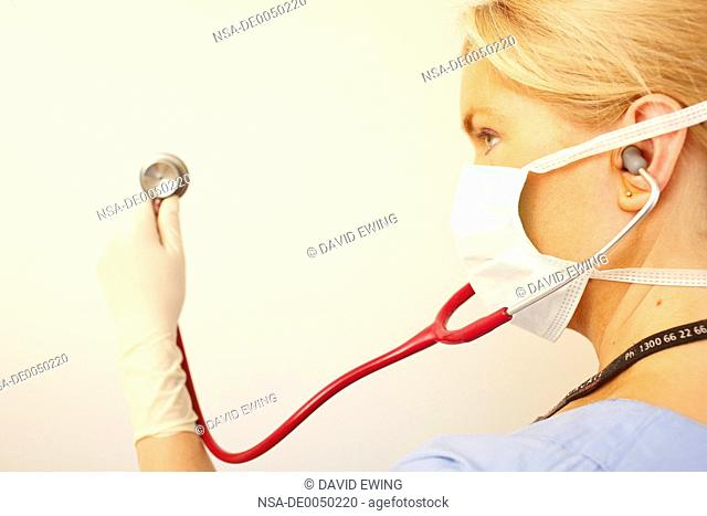 A stock photograph of a young doctor