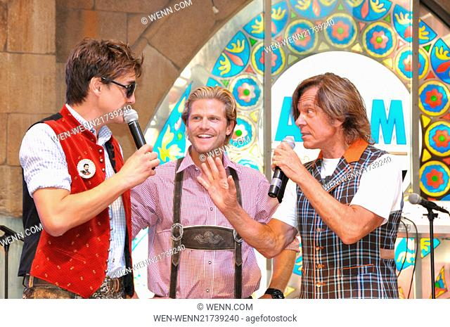Official opening of the biggest Oktoberfest in Mallorca. German singer Jürgen Drews needs three strikes to tap the first keg at Megapark