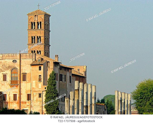 Rome Italy  Belfry of the Church of Santa Francesca Romana in the Roman Forum