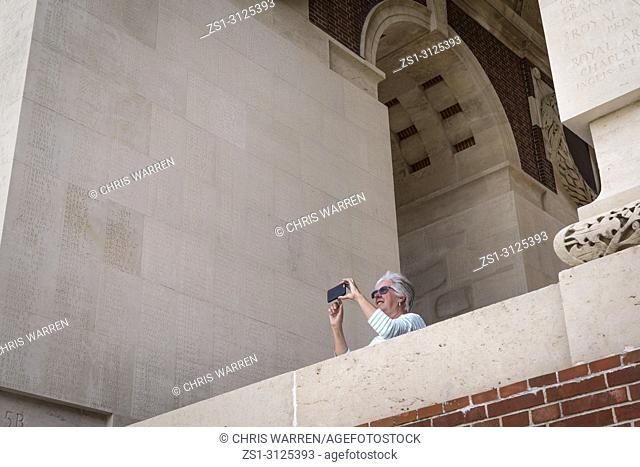 Taking a photo at Thiepval Memorial Thiepval Albert Peronne Somme Hauts-de-France France