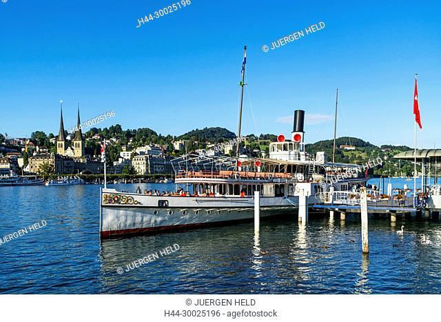 Steam boat at lake Lucerne, Vierwaldstaetter See, Switzerland