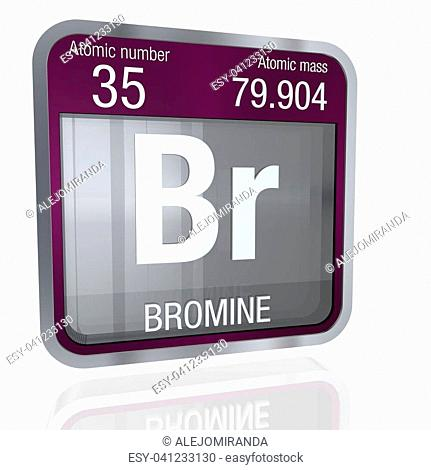 bromine symbol in square shape with metallic border and transparent background with reflection on the floor