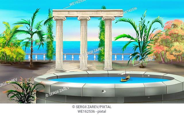 Ancient Colonnade in a summer day. Background, Illustration in cartoon style character