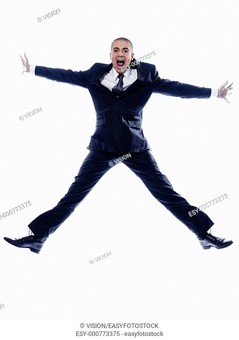 caucasian man businessman jumping scream isolated studio on white background