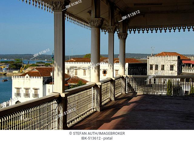 View from the decorated balcony of Beit el-Sahel Palace Museum to the Old Customs House Stone Town Zanzibar Tanzania