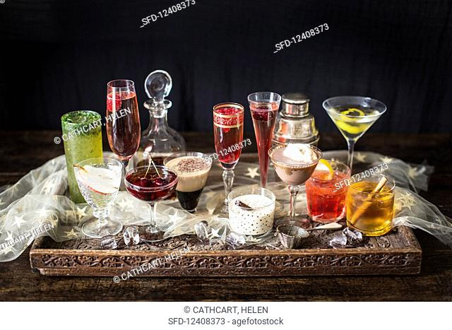 Assorted Cocktails on a Tray