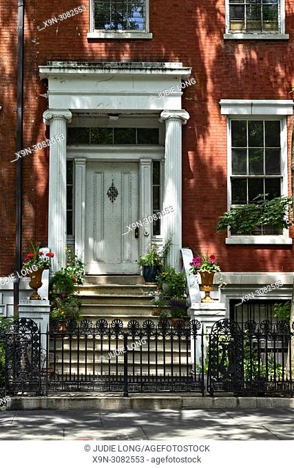 New York City, Manhattan. Looking at the Entry of a Historic Federal Style Attached Row House on Washington Square North, Greenwich Village