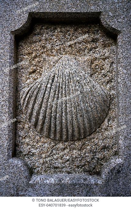Camino Santiago stone shell sign in Combarro Way of Saint James at Galicia Spain
