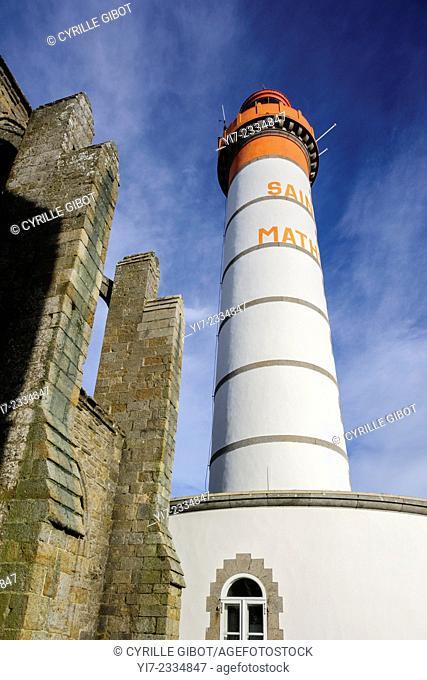 France, Finistere, Plougonvelin, lighthouse San Matthew, abbey St Mathieu de Fine Terre
