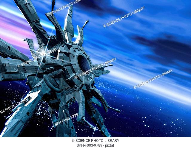 Space station orbiting Earth, computer artwork