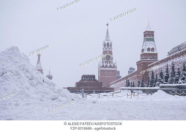 Heavy snowfall in Moscow. Red Square, Moscow, Russia