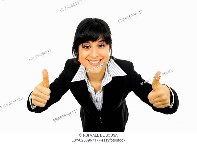 young business woman portrait going thumbs up, isolated on white background