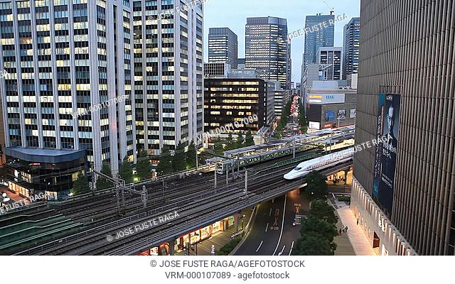 Japan-Tokyo City-Ginza District- Bullet trains through Yurakucho area