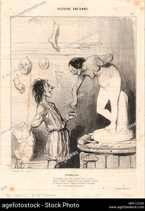 Pygmalion, from Histoire Ancienne, published in Le Charivari, December 28, 1842. Series/Portfolio: Histoire Ancienne; Artist: Honoré Daumier (French