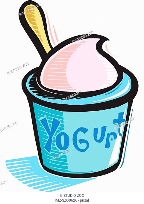 A drawing of a cup of yoghurt