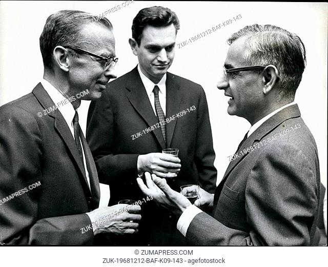 Dec. 12, 1968 - Nobel Prize Winners in Stockholm.: Pictured at a Press Conference held at the U.S Embassy in Stockholm, are (L to R): Professor Robert Holley