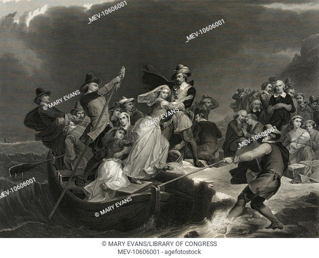 Landing of the Pilgrims on Plymouth Rock, 1620. Print showing a woman being helped ashore from a small boat held in position against a rock or ledge by men with...