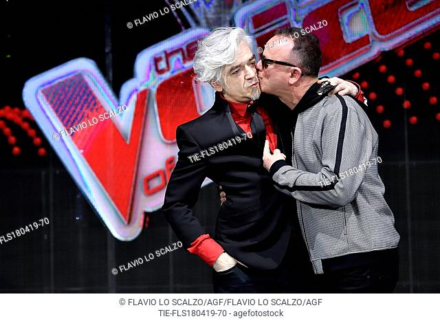 Morgan, Gigi D'Alessio during the photocall of tv show The voice of Italy, Milan, ITALY-18-04-2019