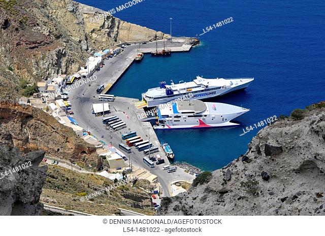 Small port area Santorini Greece Island Mediterranean Cruise Aegean