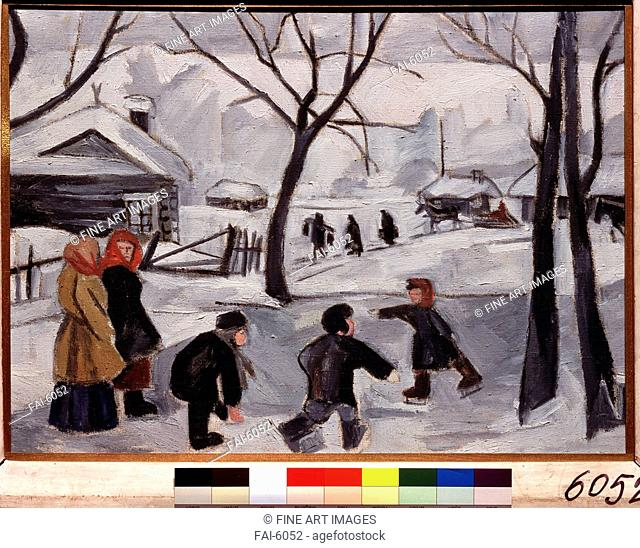 Boys skating. Goncharova, Natalia Sergeevna (1881-1962). Oil on canvas. Russian avant-garde. 1908. State Tretyakov Gallery, Moscow. 48,9x70,5