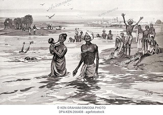 Famine sufferers drown themselves in river Jamna aka Yamuna India