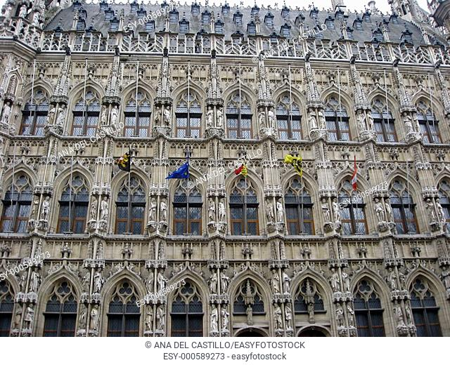 Town hall and Grand Place Leuven Belgium Flanders Europe
