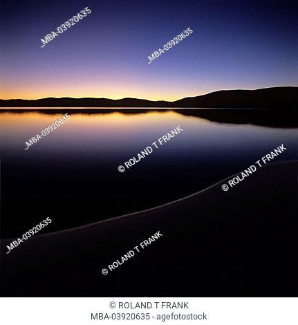 Morocco, atlas-mountains, lake,Sidi Ali, 2100m amounts, evening-mood