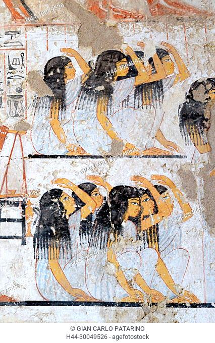 Luxor, Egypt: paintings from the Tomb of Ramose (TT55) XVIII° dyn.,from Nobles Tombs in the village of Sheik Abd el-Kurna
