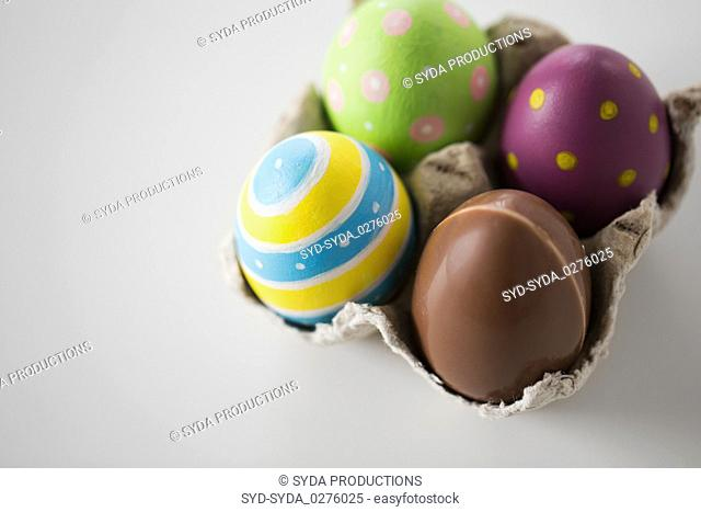 close up of chocolate and colored easter eggs