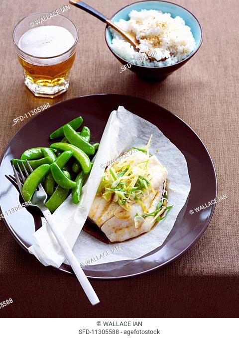 Ginger fish parcels with sesame seed rice