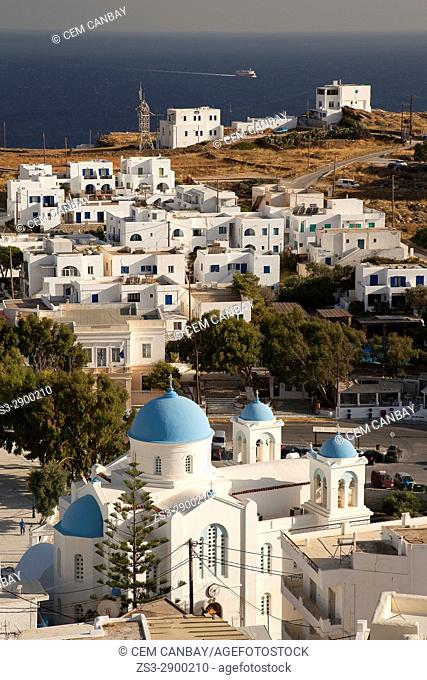 View from the chapel to the Cathedral church in old town Hora, Ios, Cyclades Islands, Greek Islands, Greece, Europe