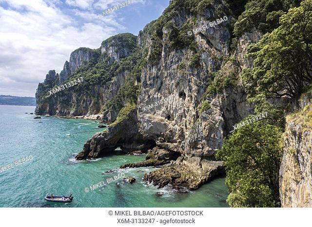Buciero mount cliffs. Santoña, Cantabria, Spain, Europe