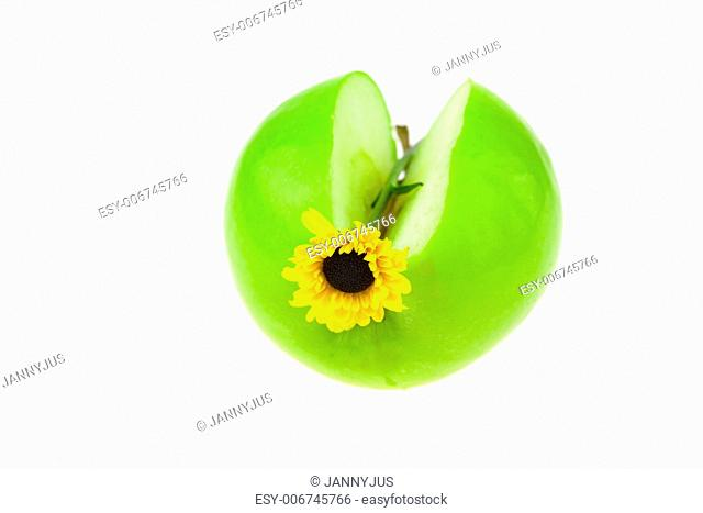 apple and a flower isolated on white