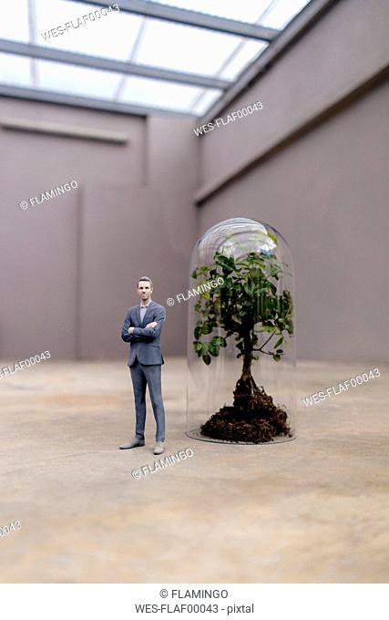 Businessman figurine standing by tree under a bell jar