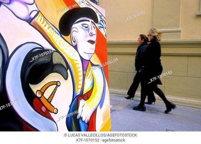 Málaga Andalusia  Spain: Painting of a street painter  In San Agustín street