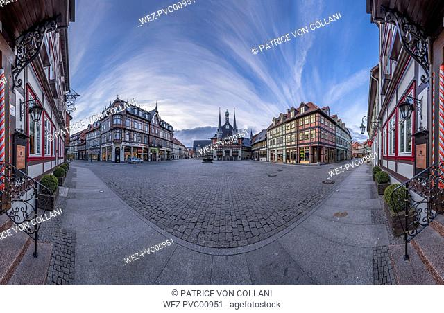 Germany, Wernigerode, panorama of market square with town hall