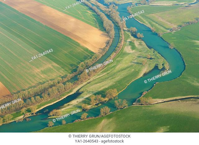 France, Meuse (55), Chattancourt, fields flooded during winter of Meuse riverbank (aerial view)